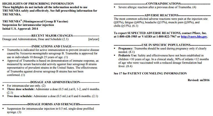 Trumenba: (Meningococcal Group B Vaccine): patient