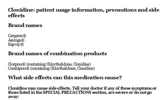 Clonidine: patient usage information, precautions and side