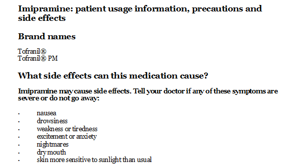 Imipramine Side Effects Adults